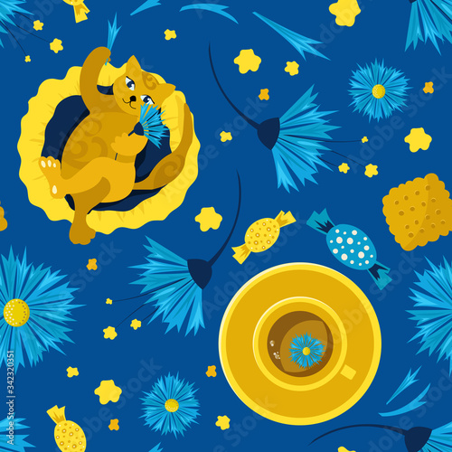 Seamless pattern with cats on a pillow and favorite tea with chicory flowers and cornflowers. Concept of home comfort. Vector illustration. Design of children's products, background, cover, wallpaper.