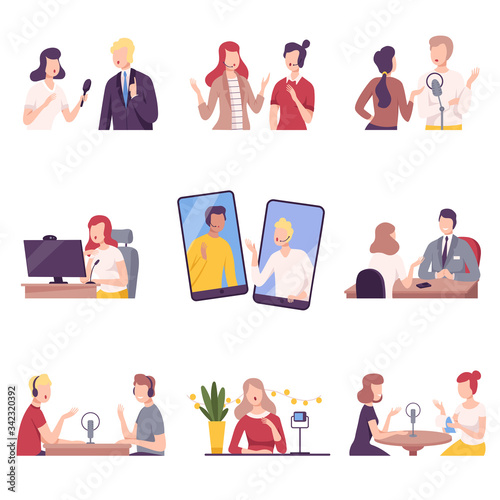 Obraz Journalists Interviewing Business People, Celebrities or Politicians Set, Online Communication, Business Meeting, Interviewing Flat Vector Illustration - fototapety do salonu
