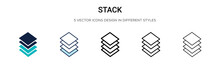 Stack Icon In Filled, Thin Line, Outline And Stroke Style. Vector Illustration Of Two Colored And Black Stack Vector Icons Designs Can Be Used For Mobile, Ui, Web