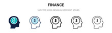 Finance Icon In Filled, Thin L...