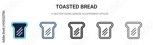 Toasted bread icon in filled, thin line, outline and stroke style Fototapet
