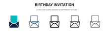 Birthday Invitation Icon In Filled, Thin Line, Outline And Stroke Style. Vector Illustration Of Two Colored And Black Birthday Invitation Vector Icons Designs Can Be Used For Mobile, Ui, Web
