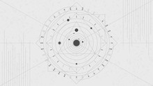 Solar System. Line Art Background