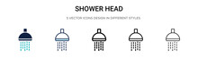 Shower Head Icon In Filled, Th...