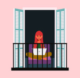 Fototapeta Sypialnia - Concept of social isolation during the coronavirus pandemic. The girl is working on a laptop on the balcony. Stay at home in quarantine. Remote work. Flat vector illustration. EPS 10.