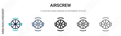Airscrew icon in filled, thin line, outline and stroke style Canvas Print