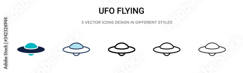 Fotografie, Obraz Ufo flying icon in filled, thin line, outline and stroke style
