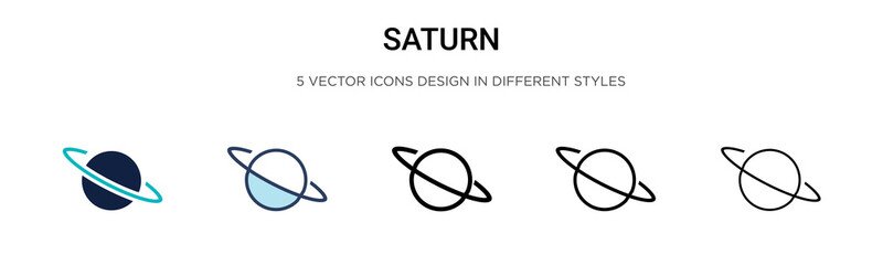 Saturn icon in filled, thin line, outline and stroke style. Vector illustration of two colored and black saturn vector icons designs can be used for mobile, ui, web