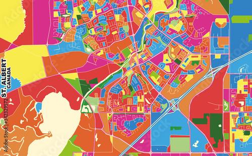 Photo St. Albert, Alberta, Canada, colorful vector map