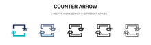Counter Arrow Icon In Filled, Thin Line, Outline And Stroke Style. Vector Illustration Of Two Colored And Black Counter Arrow Vector Icons Designs Can Be Used For Mobile, Ui, Web