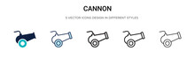 Cannon Icon In Filled, Thin Line, Outline And Stroke Style. Vector Illustration Of Two Colored And Black Cannon Vector Icons Designs Can Be Used For Mobile, Ui, Web