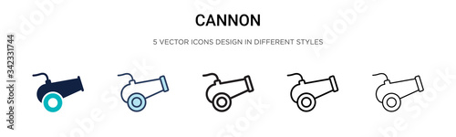 Fotografia Cannon icon in filled, thin line, outline and stroke style