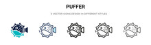Puffer Icon In Filled, Thin Li...