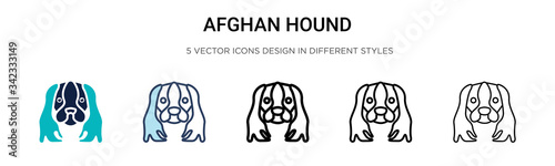 Afghan hound icon in filled, thin line, outline and stroke style Wallpaper Mural