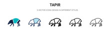Tapir Icon In Filled, Thin Line, Outline And Stroke Style. Vector Illustration Of Two Colored And Black Tapir Vector Icons Designs Can Be Used For Mobile, Ui, Web
