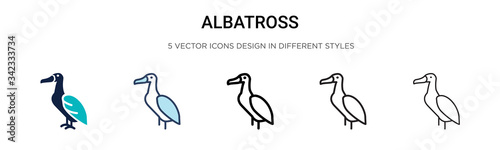 Fényképezés Albatross icon in filled, thin line, outline and stroke style