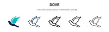 Dove Icon In Filled, Thin Line, Outline And Stroke Style. Vector Illustration Of Two Colored And Black Dove Vector Icons Designs Can Be Used For Mobile, Ui, Web