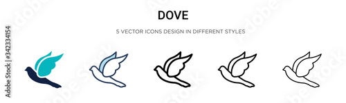 Stampa su Tela Dove icon in filled, thin line, outline and stroke style