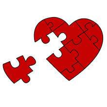 Puzzled Heart With One Missed Piece
