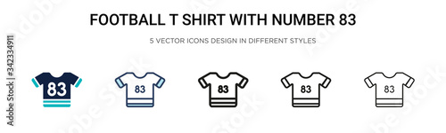Tela Football t shirt with number 83 icon in filled, thin line, outline and stroke style