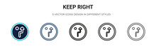 Keep Right Icon In Filled, Thi...