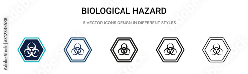 Photo Biological hazard icon in filled, thin line, outline and stroke style