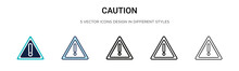 Caution Sign Icon In Filled, Thin Line, Outline And Stroke Style. Vector Illustration Of Two Colored And Black Caution Sign Vector Icons Designs Can Be Used For Mobile, Ui, Web