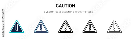 Fotografie, Obraz Caution sign icon in filled, thin line, outline and stroke style