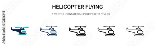 Helicopter flying icon in filled, thin line, outline and stroke style Canvas Print