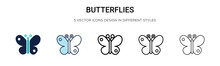 Butterflies Icon In Filled, Th...
