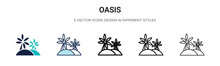 Oasis Icon In Filled, Thin Lin...