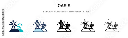 Oasis icon in filled, thin line, outline and stroke style Canvas