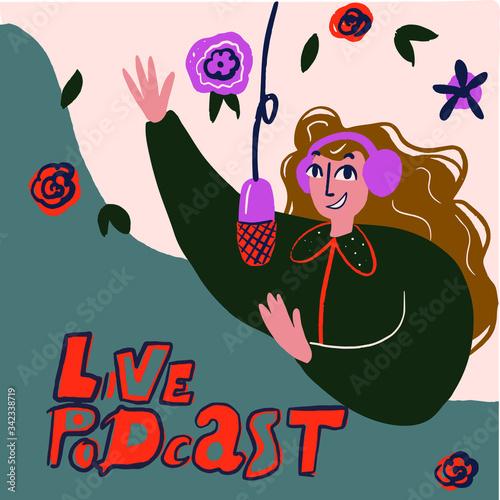 Valokuva Podcaster, radio host with mic vector illustration