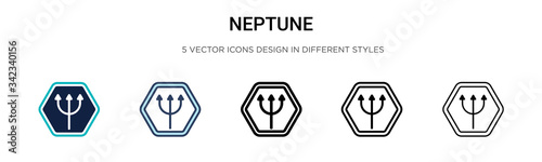 Neptune icon in filled, thin line, outline and stroke style Canvas Print