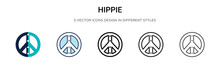 Hippie Icon In Filled, Thin Line, Outline And Stroke Style. Vector Illustration Of Two Colored And Black Hippie Vector Icons Designs Can Be Used For Mobile, Ui, Web