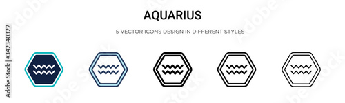 Photo Aquarius icon in filled, thin line, outline and stroke style