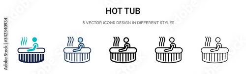 Foto Hot tub icon in filled, thin line, outline and stroke style