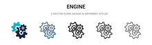 Engine Icon In Filled, Thin Li...