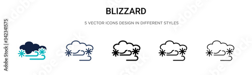 Blizzard icon in filled, thin line, outline and stroke style Canvas Print