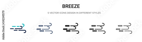 Breeze icon in filled, thin line, outline and stroke style Canvas Print