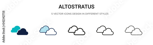 Altostratus icon in filled, thin line, outline and stroke style Canvas Print