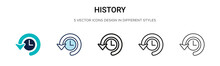 History Icon In Filled, Thin L...