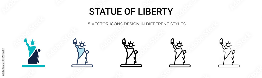 Fototapeta Statue of liberty icon in filled, thin line, outline and stroke style. Vector illustration of two colored and black statue of liberty vector icons designs can be used for mobile, ui, web