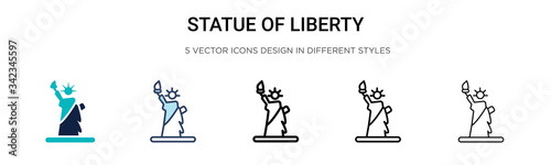 Fototapeta Statue of liberty icon in filled, thin line, outline and stroke style. Vector illustration of two colored and black statue of liberty vector icons designs can be used for mobile, ui, web obraz