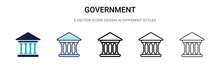 Government Icon In Filled, Thi...