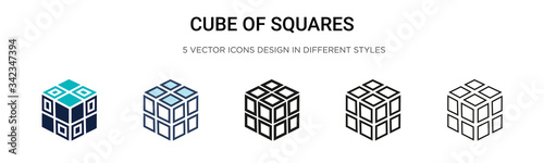 Fotografie, Obraz Cube of squares icon in filled, thin line, outline and stroke style