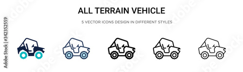 All terrain vehicle icon in filled, thin line, outline and stroke style Tapéta, Fotótapéta