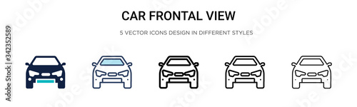 Papel de parede Car frontal view icon in filled, thin line, outline and stroke style