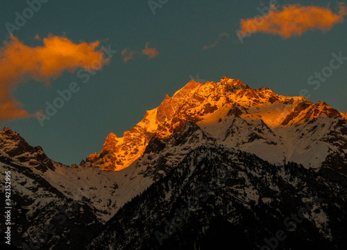 A sunset view of Kinner Kailash Ranges, the Abode of Lord Shiva Wallpaper Mural
