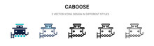 Caboose Icon In Filled, Thin Line, Outline And Stroke Style. Vector Illustration Of Two Colored And Black Caboose Vector Icons Designs Can Be Used For Mobile, Ui, Web